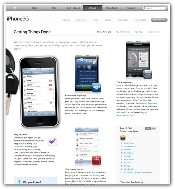 Apple iPhone Getting Things Done